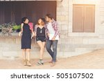group of teenagers hanging out... | Shutterstock . vector #505107502