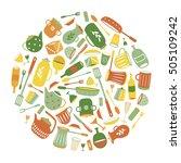 border round flat ware. kitchen ... | Shutterstock .eps vector #505109242