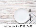 empty plate napkin fork...   Shutterstock . vector #505113652