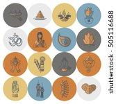 diwali. indian festival icons.... | Shutterstock .eps vector #505116688