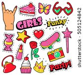fashion girls badges  patches ... | Shutterstock .eps vector #505124842