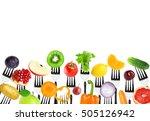 fruits and vegetables on fork...   Shutterstock . vector #505126942
