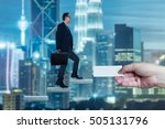 businessman walking on concrete ... | Shutterstock . vector #505131796