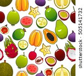 exotic and tropical fruits... | Shutterstock .eps vector #505141732