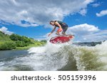 athlete surfer rides the waves... | Shutterstock . vector #505159396