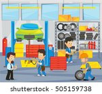 mechanics repairing car in... | Shutterstock .eps vector #505159738