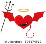 red heart with devil wings... | Shutterstock .eps vector #505174912