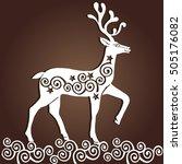 laser cut paper christmas deer. ...   Shutterstock .eps vector #505176082