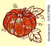 pumpkin doodle isolated line...   Shutterstock .eps vector #505178986