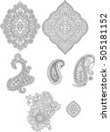 set of paisley pattern | Shutterstock .eps vector #505181152