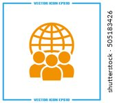 globe and people icon vector... | Shutterstock .eps vector #505183426