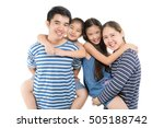 happy asian family on isolated... | Shutterstock . vector #505188742
