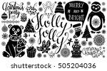 christmas icons  sign  patches  ... | Shutterstock .eps vector #505204036