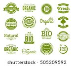 set of 100  bio  natural ... | Shutterstock .eps vector #505209592