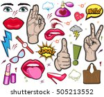 fashion patch badges with lips  ... | Shutterstock .eps vector #505213552