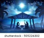 christmas nativity scene of... | Shutterstock . vector #505226302