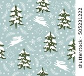 seamless christmas pattern ... | Shutterstock .eps vector #505231222