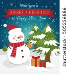 cute snowman illustration for...   Shutterstock .eps vector #505236886