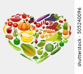 heart of fruits and vegetables... | Shutterstock .eps vector #505240096