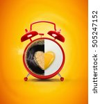 red alarm clock and fried fried ... | Shutterstock . vector #505247152