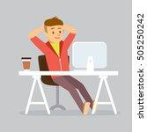 man by desk working | Shutterstock .eps vector #505250242