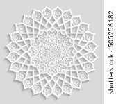 lace 3d mandala  round... | Shutterstock .eps vector #505256182