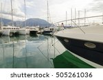 seaport and yachts in the town... | Shutterstock . vector #505261036