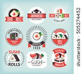 set 3 of various sushi labels... | Shutterstock .eps vector #505274452