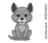 cute cartoon wolf cub. forest... | Shutterstock .eps vector #505274692