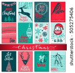 collection of nine christmas... | Shutterstock .eps vector #505275406