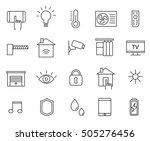 smart house editable line icons ... | Shutterstock .eps vector #505276456