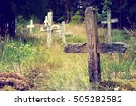 abandoned cemetery and... | Shutterstock . vector #505282582