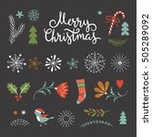 set of christmas graphic... | Shutterstock .eps vector #505289092