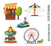 amusement park theme. cartoon... | Shutterstock .eps vector #505293886