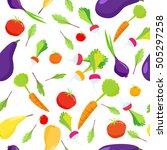 seamless pattern of vegetables... | Shutterstock . vector #505297258