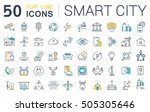 set  line icons in flat design... | Shutterstock . vector #505305646