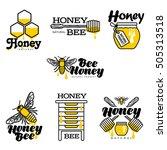 bee  honey  apiary logo set ... | Shutterstock .eps vector #505313518