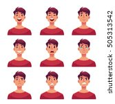 young man face expression  set... | Shutterstock .eps vector #505313542
