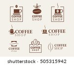 set of vector coffee shop logos ... | Shutterstock .eps vector #505315942