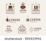 set of vector coffee shop logos. | Shutterstock .eps vector #505315942