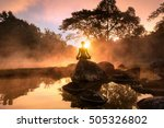 young woman meditating by the... | Shutterstock . vector #505326802