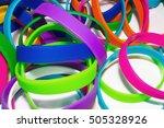 rubber bracelets. silicone... | Shutterstock . vector #505328926