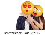 portrait of an emoji head man... | Shutterstock . vector #505332112