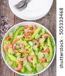 salad with lettuce  shrimp ... | Shutterstock . vector #505333468