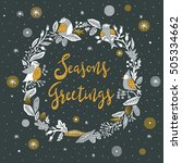 seasons greetings. print design | Shutterstock .eps vector #505334662