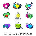 wellness symbols. healthy food... | Shutterstock .eps vector #505338652