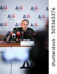 Small photo of DONETSK, DONETSK PEOPLE'S REPUBLIC - OCTOBER 18th: Eduard Aleksandrovich Basurin, Deputy Defence Minister and defence spokesman of the Donetsk People's Republic, at the daily incidents reports.