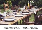 table dishware decor dinner... | Shutterstock . vector #505370206