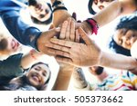 college students teamwork... | Shutterstock . vector #505373662