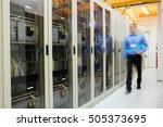 technician walking in corridor... | Shutterstock . vector #505373695